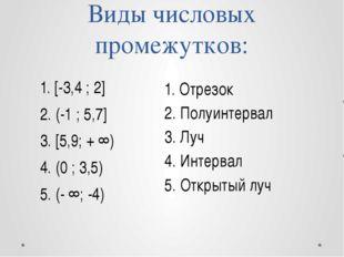 Виды числовых промежутков: 1. [-3,4 ; 2] 2. (-1 ; 5,7] 3. [5,9; + ∞) 4. (0 ;