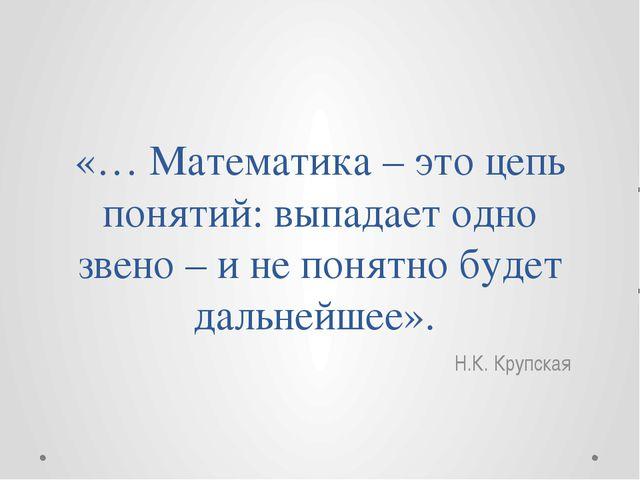 «… Математика – это цепь понятий: выпадает одно звено – и не понятно будет да...