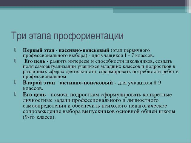 Три этапа профориентации Первый этап - пассивно-поисковый (этап первичного пр...