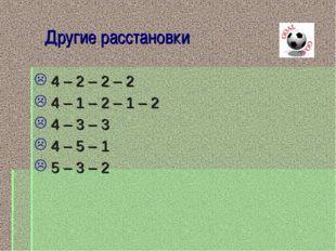 Другие расстановки 4 – 2 – 2 – 2 4 – 1 – 2 – 1 – 2 4 – 3 – 3 4 – 5 – 1 5 – 3