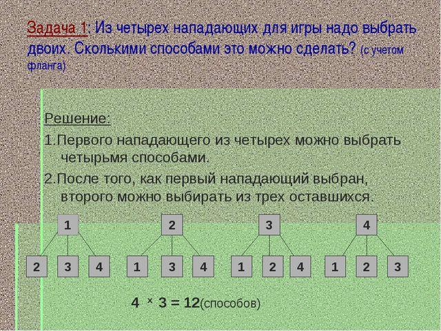 Задача 1: Из четырех нападающих для игры надо выбрать двоих. Сколькими способ...