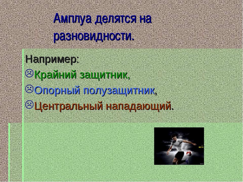 Амплуа делятся на разновидности. Например: Крайний защитник, Опорный полузащи...
