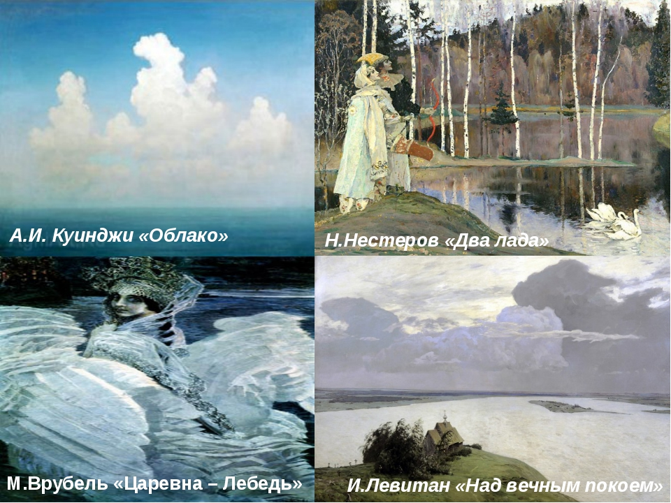 А.И. Куинджи «Облако» Н.Нестеров «Два лада» И.Левитан «Над вечным покоем» М....