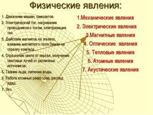 Физические явления: 1. Движение машин, самолетов. 2. Электрический ток, нагре
