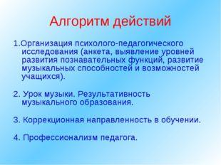 Алгоритм действий 1.Организация психолого-педагогического исследования (анкет