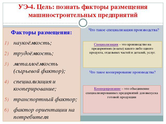 Факторы размещения: наукоёмкость; трудоёмкость; металлоёмкость (сырьевой факт...