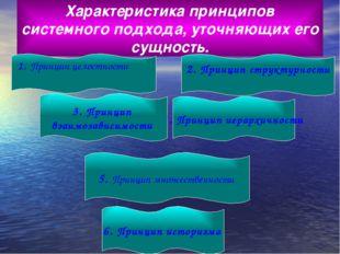 Характеристика принципов системного подхода, уточняющих его сущность. 1. Прин