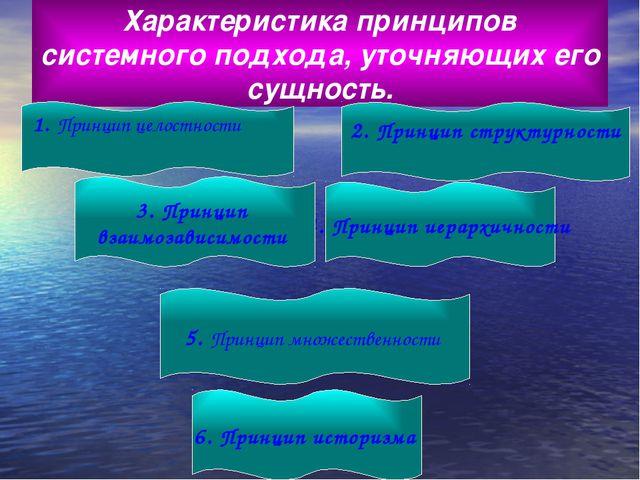 Характеристика принципов системного подхода, уточняющих его сущность. 1. Прин...