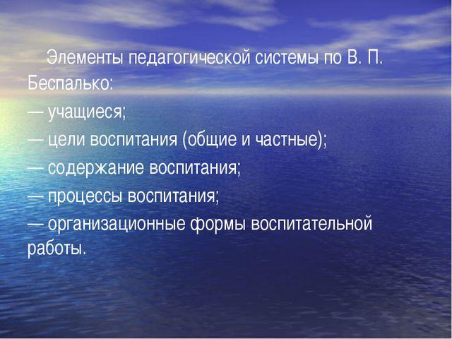 Элементы педагогической системы по В. П. Беспалько: — учащиеся; — цели воспи...