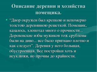 """Описание деревни и хозяйства помещика. """"Двор окружен был крепкою и непомерно"""