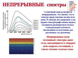Солнечный спектр является непрерывным. Это значит, что в спектре представлены