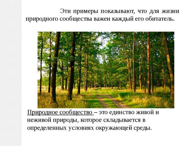 Эти примеры показывают, что для жизни природного сообщества важен каждый его...
