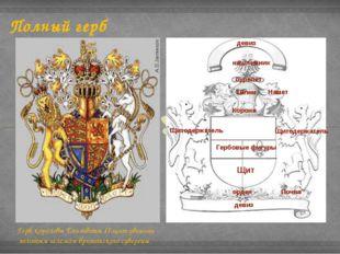 Полный герб Герб королевы Елизаветы II:щит увенчан золотым шлемом британского