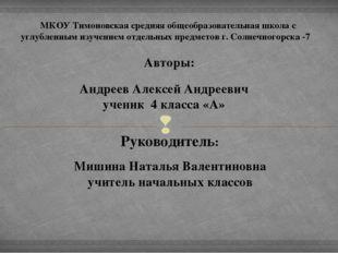 МКОУ Тимоновская средняя общеобразовательная школа с углубленным изучением от