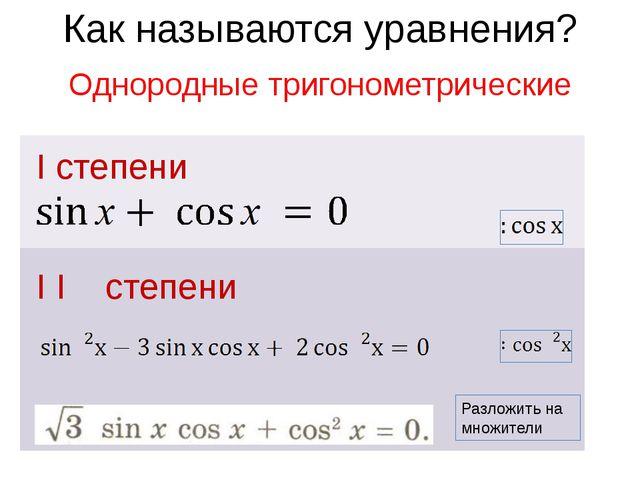 Как называются уравнения? I степени I I степени Однородные тригонометрически...