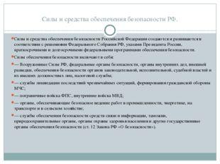Силы и средства обеспечения безопасности РФ. Силы и средства обеспечения безо
