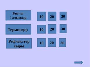 Терминдер Рефлекстер сыры Биолог ғалымдар 10 30 20 10 10 20 30 20 30