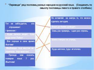 """""""Переведи"""" ряд пословиц разных народов на русский язык. (Соединить по смыслу"""