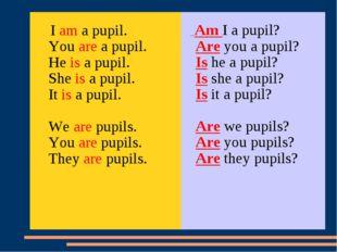 I am a pupil. You are a pupil. He is a pupil. She is a pupil. It is a pupil.