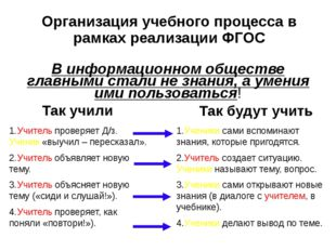 Организация учебного процесса в рамках реализации ФГОС В информационном общес