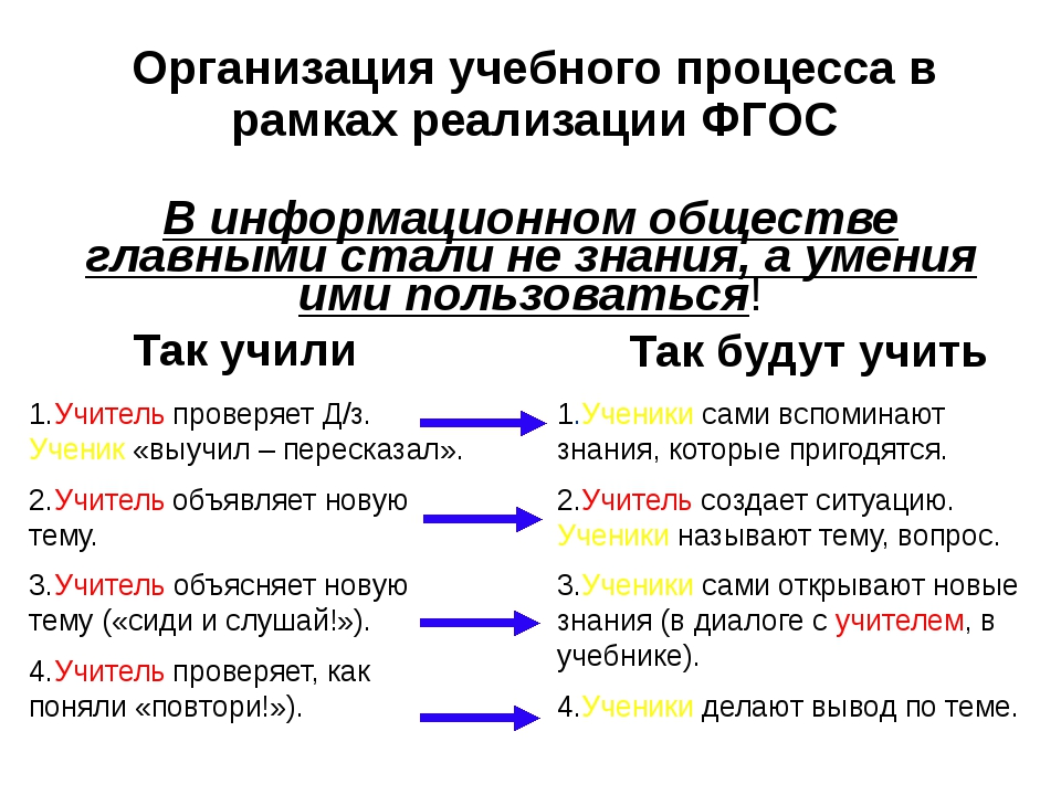Организация учебного процесса в рамках реализации ФГОС В информационном общес...