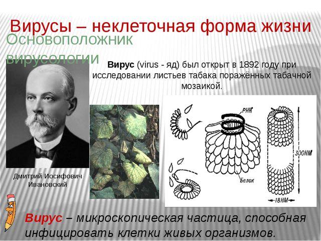 Вирусы – неклеточная форма жизни Вирус (virus - яд) был открыт в 1892 году пр...