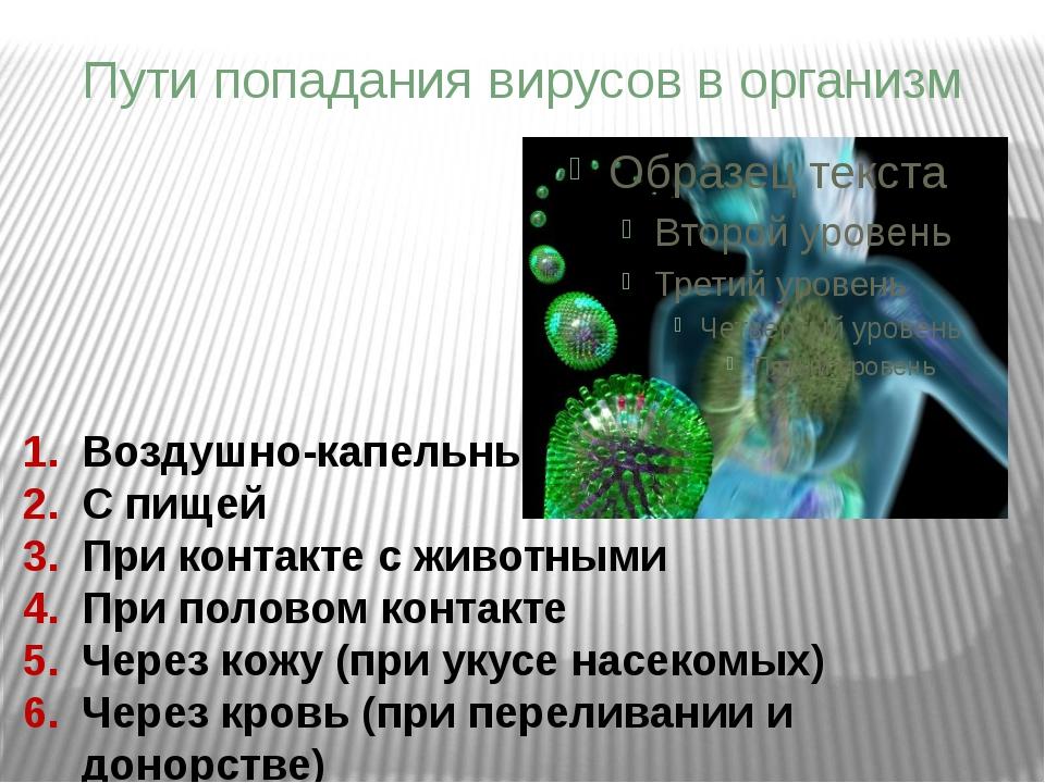 Воздушно-капельный С пищей При контакте с животными При половом контакте Чере...