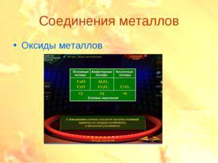Соединения металлов Оксиды металлов