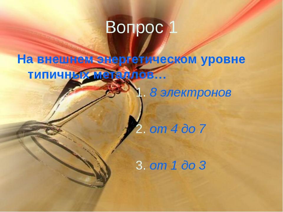 Вопрос 1 На внешнем энергетическом уровне типичных металлов… 1. 8 электронов...