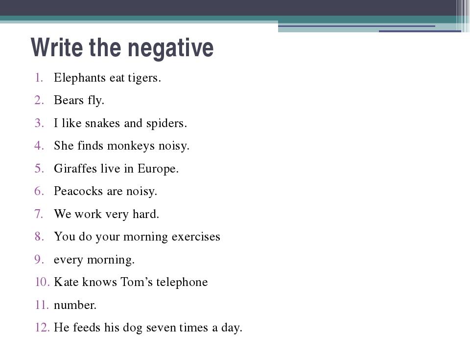 Write the negative Elephants eat tigers. Bears fly. I like snakes and spiders...