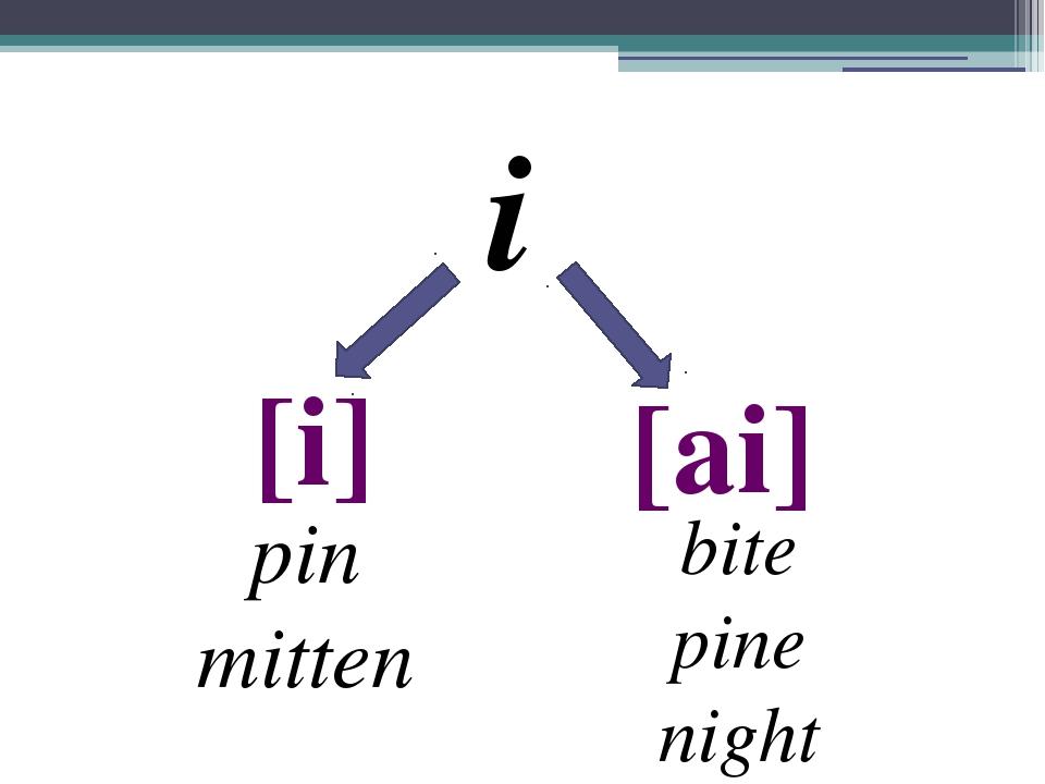 i [i] [ai] pin mitten bite pine night