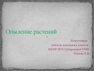 Подготовила учитель начальных классов МКОУ БГО Губаревской СОШ Попова Е.В Опы