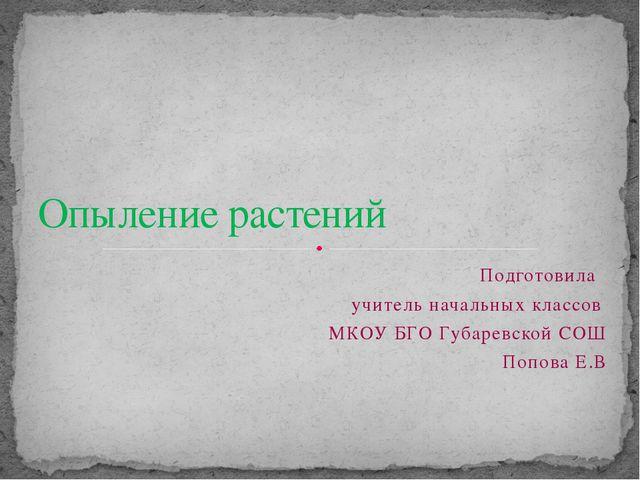 Подготовила учитель начальных классов МКОУ БГО Губаревской СОШ Попова Е.В Опы...