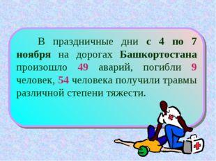 В праздничные дни с 4 по 7 ноября на дорогах Башкортостана произошло 49 авар
