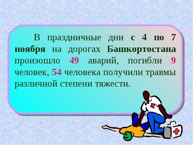 В праздничные дни с 4 по 7 ноября на дорогах Башкортостана произошло 49 авар...