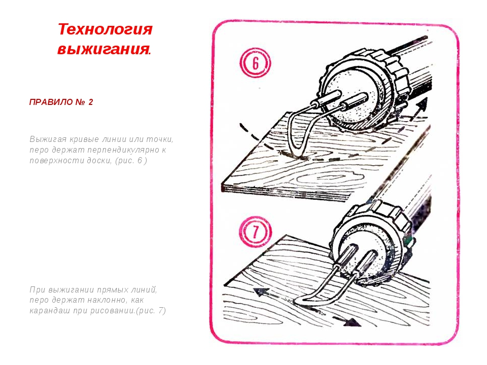 Технология выжигания. ПРАВИЛО № 2 Выжигая кривые линии или точки, перо держат...