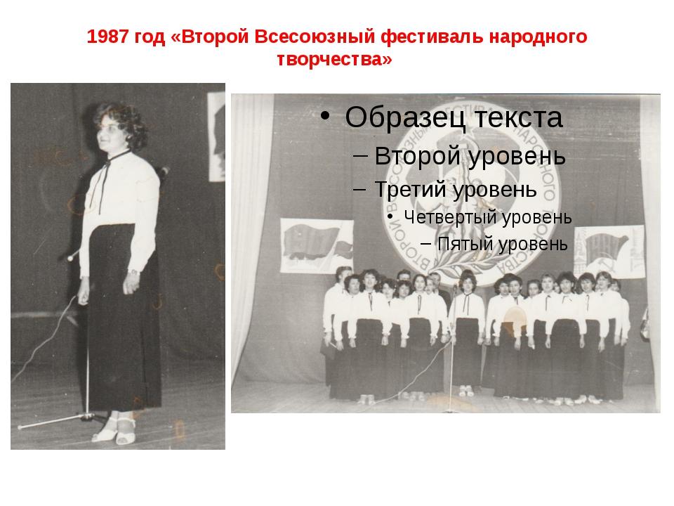 1987 год «Второй Всесоюзный фестиваль народного творчества»