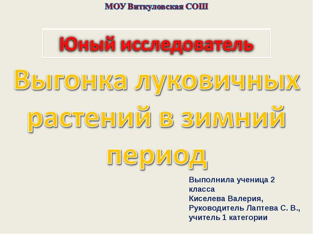 Выполнила ученица 2 класса Киселева Валерия, Руководитель Лаптева С. В., учи...