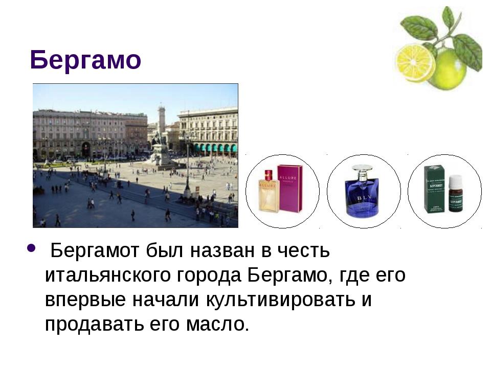 Бергамо Бергамот был назван в честь итальянского города Бергамо, где его впер...