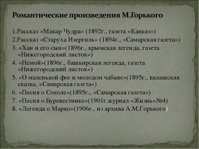 1.Рассказ «Макар Чудра» (1892г., газета «Кавказ») 2.Рассказ «Старуха Изергиль...