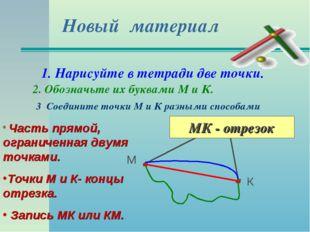 Новый материал 1. Нарисуйте в тетради две точки. 2. Обозначьте их буквами М и