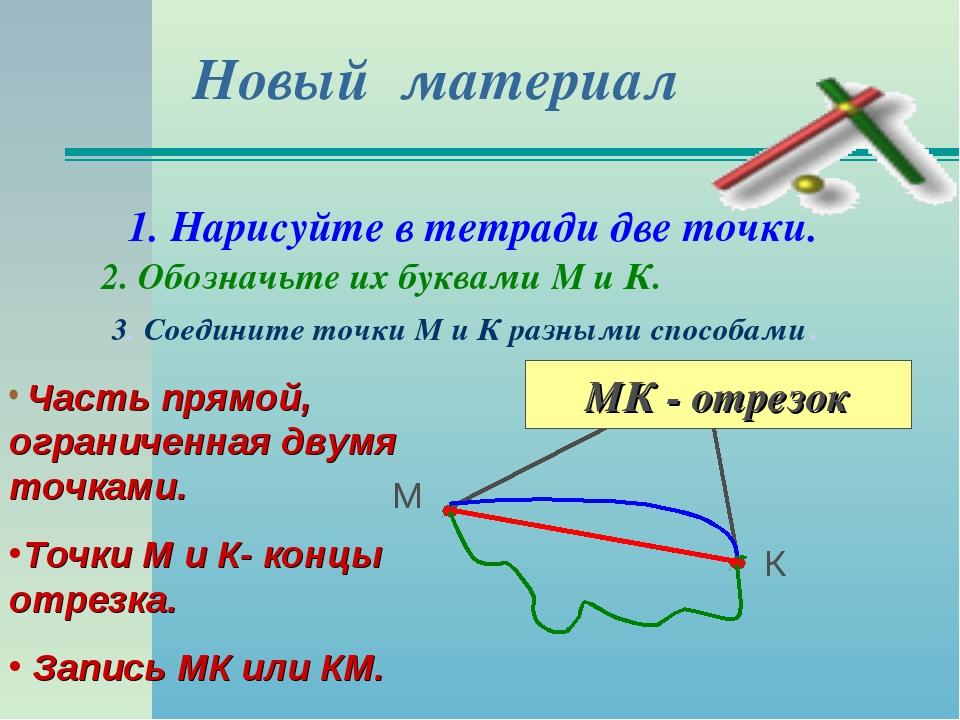 Новый материал 1. Нарисуйте в тетради две точки. 2. Обозначьте их буквами М и...