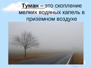 Туман – это скопление мелких водяных капель в приземном воздухе