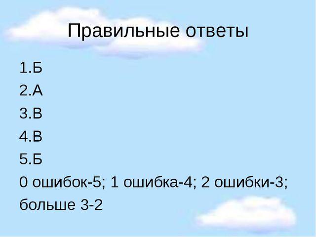 Правильные ответы 1.Б 2.А 3.В 4.В 5.Б 0 ошибок-5; 1 ошибка-4; 2 ошибки-3; бол...