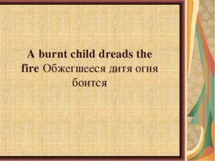 A burnt child dreads the fireОбжегшееся дитя огня боится