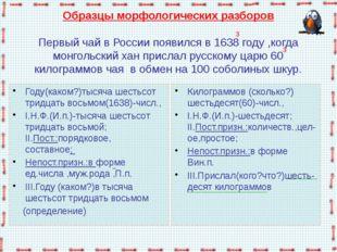 Образцы морфологических разборов  Первый чай в России появился в 1638 году ,к