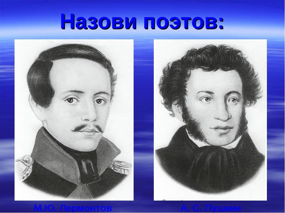 Назови поэтов: М.Ю. Лермонтов А. С. Пушкин