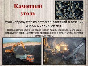 Уголь образуется из остатков растений в течении многих миллионов лет. Когда о