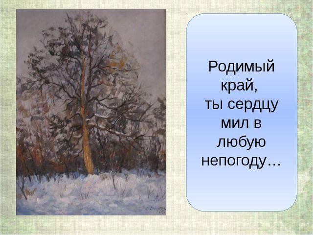 Родимый край, ты сердцу мил в любую непогоду…