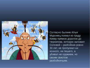 Согласно былине Илья Муромец поехал ко граду Киеву прямою дорогою до Черниго